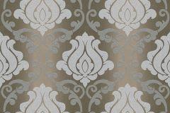 34860-3 cikkszámú tapéta.Barokk-klasszikus,csillámos,különleges felületű,barna,bézs-drapp,ezüst,lemosható,papír tapéta