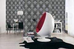 34860-4 cikkszámú tapéta.Barokk-klasszikus,csillámos,különleges felületű,ezüst,fekete,szürke,lemosható,papír tapéta