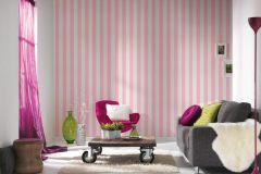 35990-2 cikkszámú tapéta.Csíkos,csillámos,gyerek,fehér,pink-rózsaszín,lemosható,illesztés mentes,papír tapéta