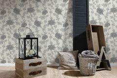 36695-1 cikkszámú tapéta.Csillámos,virágmintás,ezüst,fehér,szürke,lemosható,papír tapéta