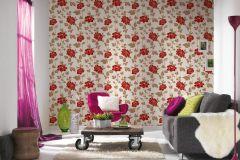 36695-3 cikkszámú tapéta.Csillámos,virágmintás,barna,narancs-terrakotta,piros-bordó,lemosható,papír tapéta