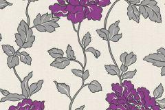 36695-4 cikkszámú tapéta.Csillámos,virágmintás,ezüst,fehér,lila,szürke,lemosható,papír tapéta