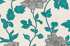 36695-5 cikkszámú tapéta.Csillámos,virágmintás,ezüst,fehér,szürke,türkiz,lemosható,papír tapéta