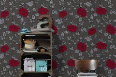 36695-7 cikkszámú tapéta.Csillámos,virágmintás,ezüst,piros-bordó,szürke,lemosható,papír tapéta