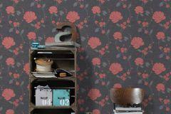 36701-3 cikkszámú tapéta.Csillámos,virágmintás,narancs-terrakotta,szürke,lemosható,papír tapéta