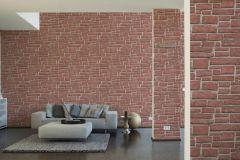 6621-18 cikkszámú tapéta.Konyha-fürdőszobai,kőhatású-kőmintás,különleges felületű,narancs-terrakotta,pink-rózsaszín,lemosható,papír tapéta
