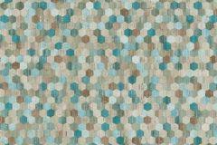37463-2 cikkszámú tapéta.Absztrakt,textilmintás,bézs-drapp,kék,türkiz,súrolható,vlies tapéta