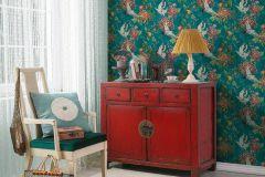 37464-1 cikkszámú tapéta.állatok,narancs-terrakotta,piros-bordó,türkiz,zöld,súrolható,vlies tapéta
