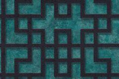 37465-1 cikkszámú tapéta.3d hatású,absztrakt,fekete,türkiz,súrolható,vlies tapéta