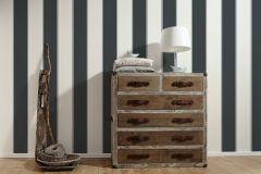 30459-7 cikkszámú tapéta.Csíkos,dekor tapéta ,különleges felületű,rajzolt,retro,textil hatású,fehér,fekete,lemosható,illesztés mentes,vlies tapéta