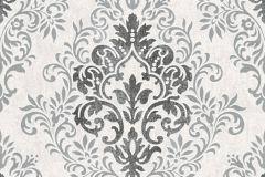33924-1 cikkszámú tapéta.Barokk-klasszikus,különleges motívumos,rajzolt,virágmintás,fehér,fekete,szürke,lemosható,vlies tapéta