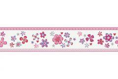 94127-3 cikkszámú tapéta.Csíkos,rajzolt,virágmintás,fehér,lila,pink-rózsaszín,piros-bordó,szürke,vlies bordűr