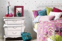 94128-3 cikkszámú tapéta.Dekor tapéta ,gyerek,különleges felületű,rajzolt,virágmintás,fehér,lila,piros-bordó,szürke,lemosható,illesztés mentes,vlies tapéta