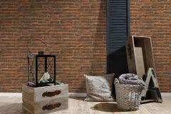 30747-1 cikkszámú tapéta.3d hatású,kőhatású-kőmintás,különleges felületű,barna,narancs-terrakotta,súrolható,vlies tapéta