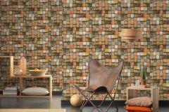 34452-1 cikkszámú tapéta.3d hatású,absztrakt,fa hatású-fa mintás,kockás,különleges felületű,barna,bézs-drapp,kék,narancs-terrakotta,piros-bordó,türkiz,zöld,súrolható,vlies tapéta