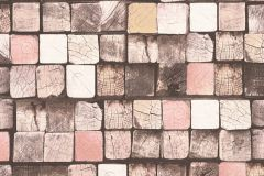 34452-2 cikkszámú tapéta.3d hatású,absztrakt,fa hatású-fa mintás,kockás,különleges felületű,barna,bézs-drapp,narancs-terrakotta,pink-rózsaszín,sárga,szürke,zebra,súrolható,vlies tapéta