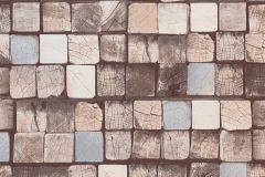 34452-4 cikkszámú tapéta.3d hatású,absztrakt,fa hatású-fa mintás,kockás,különleges felületű,türkiz,vajszín,zöld,barna,bézs-drapp,kék,súrolható,vlies tapéta