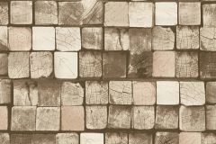 34452-5 cikkszámú tapéta.3d hatású,absztrakt,fa hatású-fa mintás,kockás,különleges felületű,barna,bézs-drapp,vajszín,zöld,súrolható,vlies tapéta