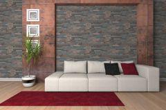 35582-3 cikkszámú tapéta.3d hatású,kőhatású-kőmintás,különleges felületű,barna,bézs-drapp,kék,narancs-terrakotta,szürke,súrolható,vlies tapéta