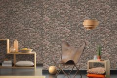 35583-2 cikkszámú tapéta.3d hatású,kőhatású-kőmintás,különleges felületű,barna,bézs-drapp,narancs-terrakotta,zebra,súrolható,vlies tapéta