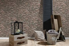 35583-2 cikkszámú tapéta.3d hatású,kőhatású-kőmintás,különleges felületű,barna,bézs-drapp,narancs-terrakotta,vajszín,súrolható,vlies tapéta