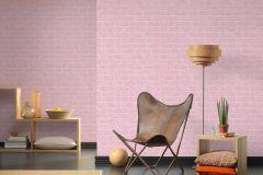 35981-2 cikkszámú tapéta.3d hatású,gyerek,kőhatású-kőmintás,különleges felületű,fehér,pink-rózsaszín,lemosható,vlies tapéta