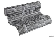 6623-30 cikkszámú tapéta.3d hatású,kőhatású-kőmintás,különleges felületű,ezüst,fekete,szürke,lemosható,vlies tapéta