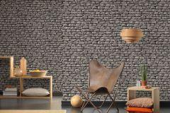9079-29 cikkszámú tapéta.3d hatású,kőhatású-kőmintás,különleges felületű,fekete,szürke,súrolható,vlies tapéta