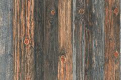 9086-12 cikkszámú tapéta.Dekor,fa hatású-fa mintás,különleges felületű,barna,kék,narancs-terrakotta,szürke,súrolható,illesztés mentes,vlies tapéta
