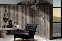 9086-12 cikkszámú tapéta.Dekor tapéta ,fa hatású-fa mintás,különleges felületű,barna,kék,narancs-terrakotta,szürke,súrolható,illesztés mentes,vlies tapéta