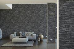 9142-24 cikkszámú tapéta.3d hatású,kőhatású-kőmintás,különleges felületű,fekete,szürke,súrolható,vlies tapéta
