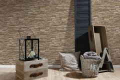 95833-2 cikkszámú tapéta.3d hatású,kőhatású-kőmintás,különleges felületű,barna,bézs-drapp,vajszín,súrolható,vlies tapéta