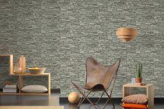 95871-2 cikkszámú tapéta.3d hatású,kőhatású-kőmintás,különleges felületű,szürke,vajszín,zöld,súrolható,vlies tapéta