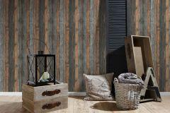 9086-12 cikkszámú tapéta.Fa hatású-fa mintás,barna,fekete,szürke,súrolható,illesztés mentes,vlies tapéta