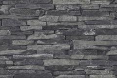 9142-24 cikkszámú tapéta.Kőhatású-kőmintás,fekete,szürke,súrolható,vlies tapéta