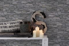 95871-1 cikkszámú tapéta.Kőhatású-kőmintás,fekete,szürke,súrolható,vlies tapéta