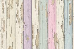95883-2 cikkszámú tapéta.Fa hatású-fa mintás,barna,bézs-drapp,fehér,lila,pink-rózsaszín,zöld,súrolható,illesztés mentes,vlies tapéta
