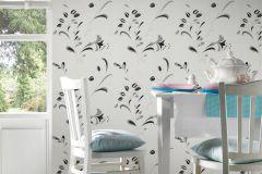 1067-42 cikkszámú tapéta.Természeti mintás,virágmintás,fehér,fekete,szürke,lemosható,papír tapéta