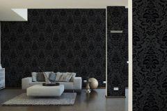 2554-26 cikkszámú tapéta.Barokk-klasszikus,egyszínű,fekete,lemosható,vlies tapéta