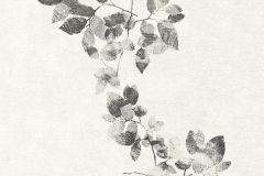 34495-3 cikkszámú tapéta.Absztrakt,dekor,rajzolt,retro,természeti mintás,fehér,fekete,súrolható,illesztés mentes,vlies tapéta