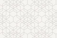 34869-1 cikkszámú tapéta.Geometriai mintás,retro,fehér,súrolható,vlies tapéta