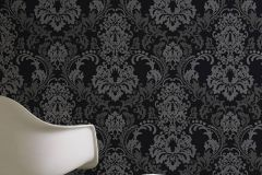 36166-3 cikkszámú tapéta.Barokk-klasszikus,egyszínű,fekete,lemosható,vlies tapéta
