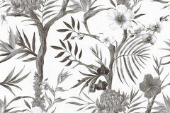36202-2 cikkszámú tapéta.Rajzolt,természeti mintás,virágmintás,fehér,fekete,szürke,súrolható,vlies tapéta