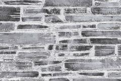 36459-1 cikkszámú tapéta.3d hatású,fotórealisztikus,kőhatású-kőmintás,fekete,szürke,gyengén mosható,papír tapéta