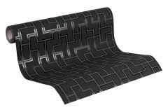 93937-1 cikkszámú tapéta.Geometriai mintás,kockás,retro,fekete,lemosható,vlies tapéta