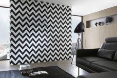93943-1 cikkszámú tapéta.Geometriai mintás,retro,fehér,fekete,lemosható,vlies tapéta