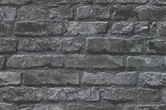 95470-1 cikkszámú tapéta.3d hatású,fotórealisztikus,kőhatású-kőmintás,fekete,szürke,gyengén mosható,papír tapéta