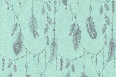 36465-2 cikkszámú tapéta.Különleges felületű,különleges motívumos,rajzolt,türkiz,zöld,súrolható,vlies tapéta