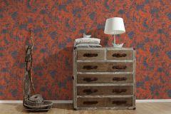 32263-4 cikkszámú tapéta.Különleges felületű,természeti mintás,kék,narancs-terrakotta,piros-bordó,szürke,súrolható,vlies tapéta