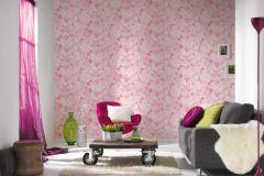 30450-2 cikkszámú tapéta.Természeti mintás,virágmintás,fehér,narancs-terrakotta,pink-rózsaszín,gyengén mosható,papír tapéta